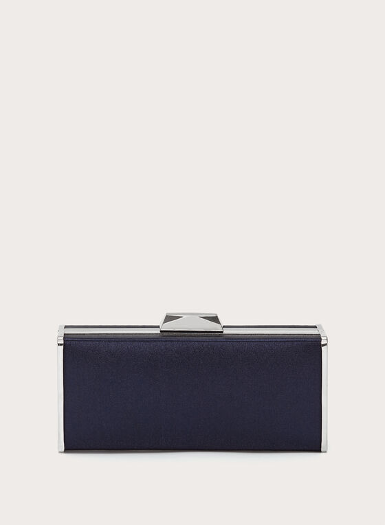Metallic Trimmed Box Clutch, Blue, hi-res