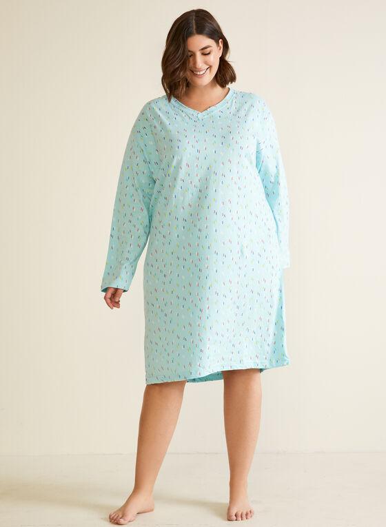 Confetti Print Long Sleeve Nightgown, Blue
