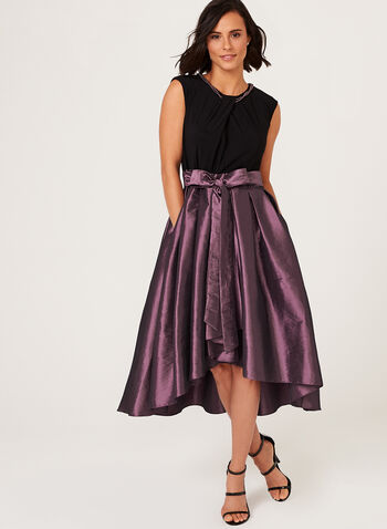 Pearl Necklace Taffeta Dress, Purple, hi-res