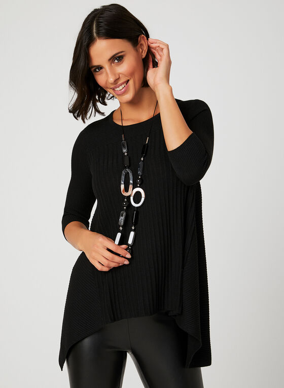 Pull en tricot à ourlet édenté, Noir, hi-res