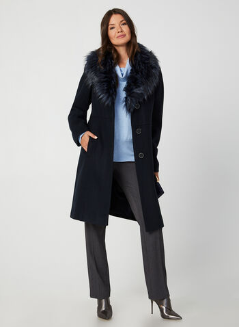Wool-Blend Coat, Blue, hi-res,  coat, winter coat, faux fur coat, faux fur, faux wool, faux wool coat, fall 2019, winter 2019