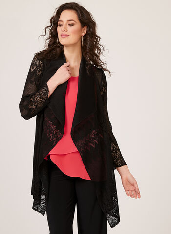 Ness – Pleated Lace Cardigan, Black, hi-res