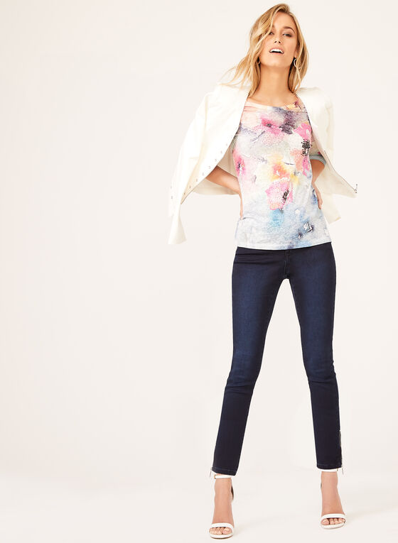 Floral Print Crystal Detail Top , Blue, hi-res