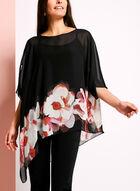 Chiffon Floral Print Poncho Blouse, Black, hi-res