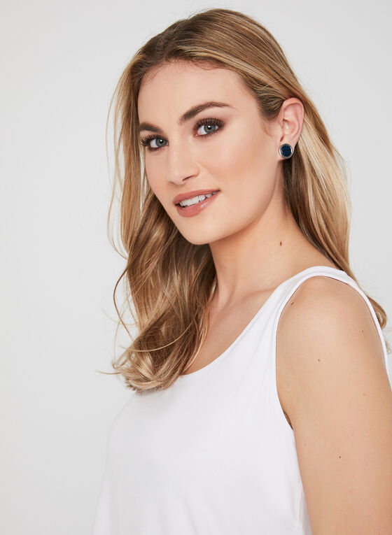 Sleeveless Scoop Neck Top , White, hi-res