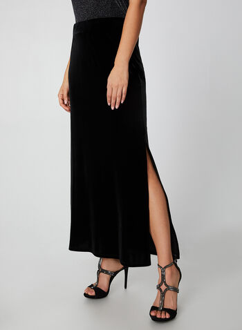 Long Velour Maxi Skirt, Black,  skirt, long, maxi, velour, pull-on, slit, fall 2019, winter 2019