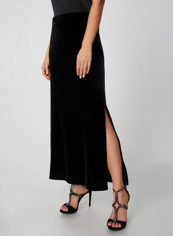 Long Velour Maxi Skirt, Black
