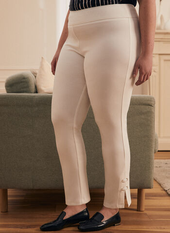 Joseph Ribkoff - Pantalon pull-on avec oeillets, Blanc cassé,  fait au canada, joseph ribkoff, pull-on, jambe droite, oeillets, bengaline, frank lyman, printemps été 2021