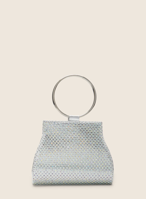 Ring Handle Evening Bag, Silver