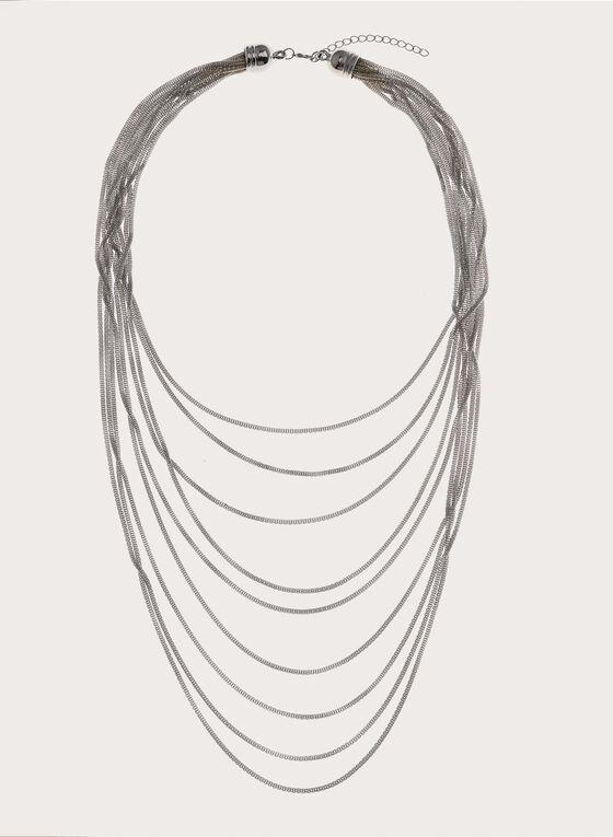 Multi Strand Box Chain Necklace, Silver, hi-res
