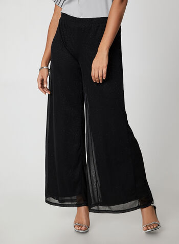 Glitter Mesh Wide Leg Pants, Black,  canada, pants, wide leg, wide leg pants, glitter, glitter pants, mesh, holiday, fall 2019, winter 2019
