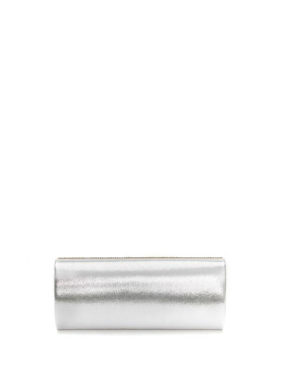 Pochette de soirée argentée perles et cristaux, Argent, hi-res