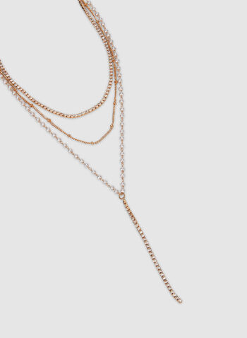 Multi-Layer Necklace, Off White, hi-res,  layers, necklace, long necklace, rhinestone, pearl, fall 2019, winter 2019