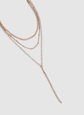 Collier à triple rangs , Blanc cassé, hi-res,  chaîne, perles, cristaux, automne hiver 2019