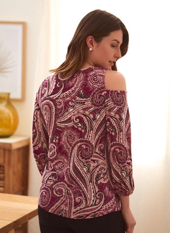 Paisley Print Cold Shoulder Top, Purple