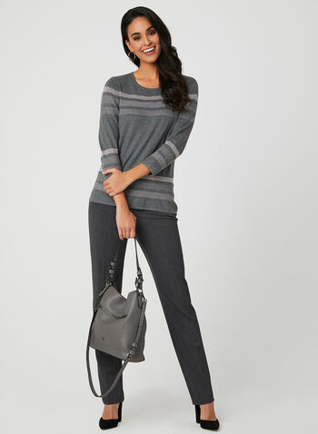 Stripe Print Knit Top, Grey, hi-res