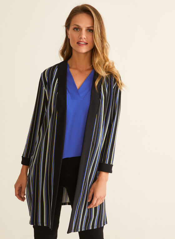 Striped Open Front Top, Black