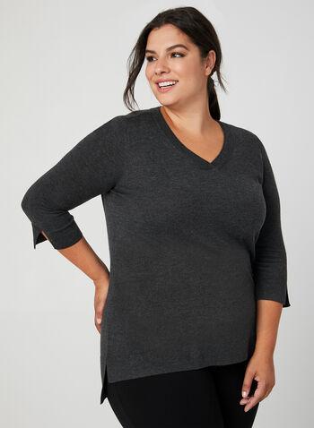 V-Neck ¾ Sleeve Sweater, Grey,  v-neck top