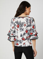 Floral Print Cold Shoulder Top, White