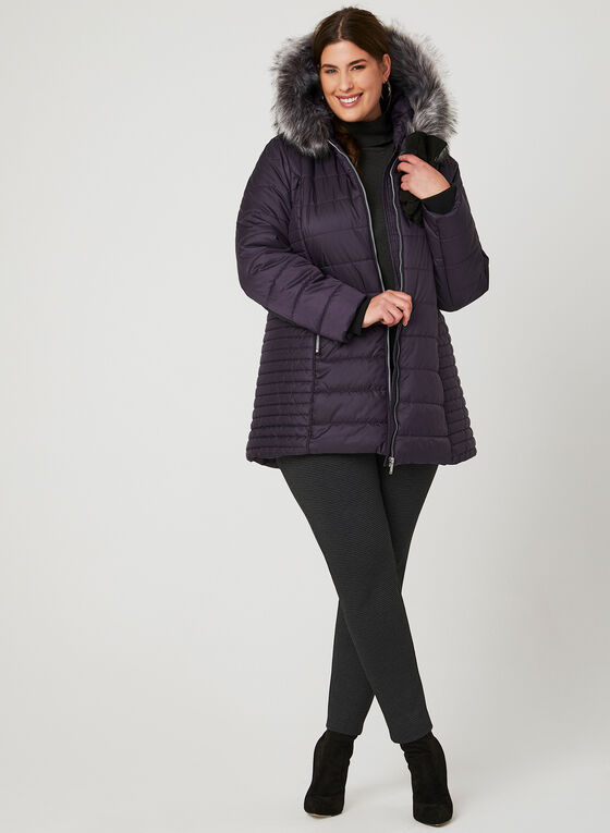 Hooded Quilted Coat, Purple, hi-res