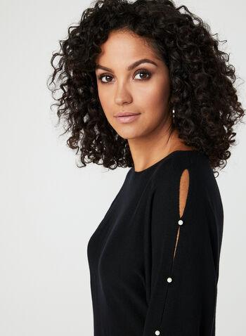 Pearl Trim Dolman Sleeve Sweater, Black, hi-res