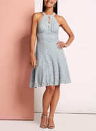 Glitter Lace Fit & Flare Dress, Silver, hi-res