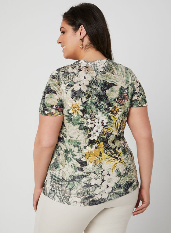 Floral Print Burnout T-Shirt, Green, hi-res