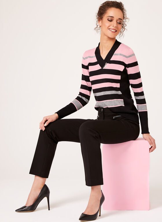 Lurex Stripe Knit Sweater, Purple, hi-res