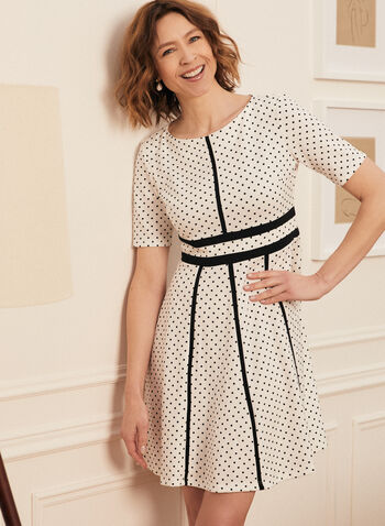 Polka Dot Motif Day Dress, Black,  dress, day, short sleeves, round neck, polka dot, jacquard, spring summer 2021