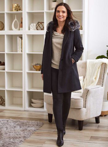 Stretch Wool Blend Coat, Grey,  fall 2021, coat, Laura Exclusive, outerwear, wool coat, wool, wool blend, stretch, detachable, hood, faux fur, vegan leather, cuffed, A-line, brushed twill, twill, satin lining, warm