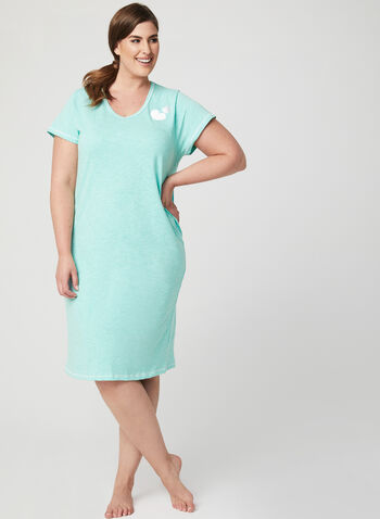 Bellina - Short Sleeve Nightgown , Green, hi-res
