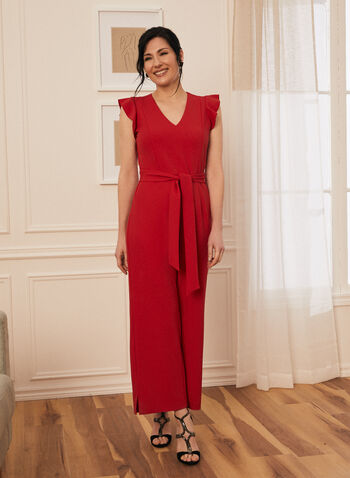 Cap Sleeve Belted Jumpsuit, Red,  jumpsuit, crepe, cap sleeve, v-neck, tie, fall winter 2020