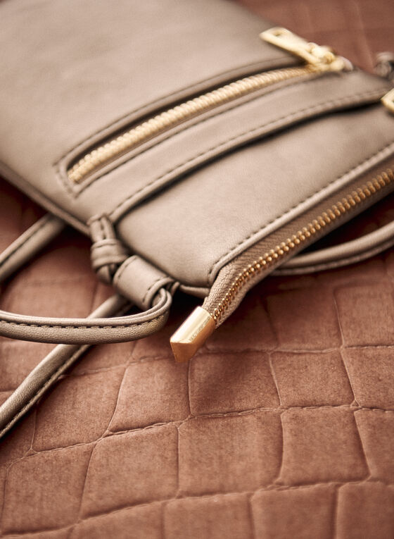 Zip Detail Crossbody Bag, Grey