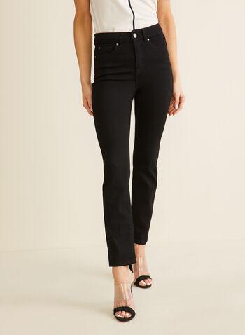 Jeans à jambe droite, Noir,  jeans, jambe droite, coton, strass, poches, printemps été 2020