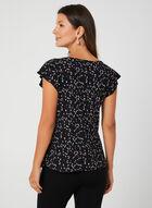 Abstract Print Cap Sleeve Top, Black