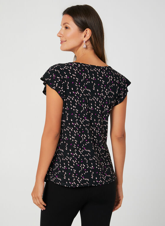 Abstract Print Cap Sleeve Top, Black