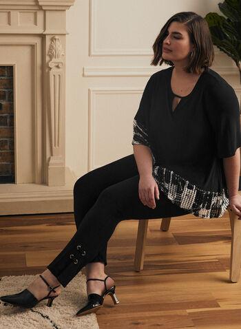 Joseph Ribkoff - Grommet Detail Straight Leg Pants, Black,  pants, pull-on, straight leg, grommet, tab, metallic, bengaline, spring summer 2021