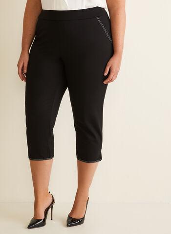 Contrast Stitch Capri Pants, Black,  pants, capri, pull-on, stretchy, ponte de roma, grosgrain, topstitch, contrast, spring summer 2020