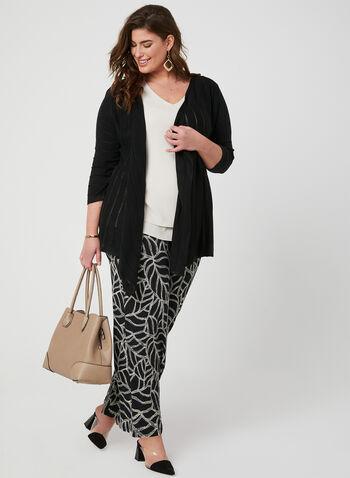 Pantalon coupe moderne à motif feuilles, Noir, hi-res