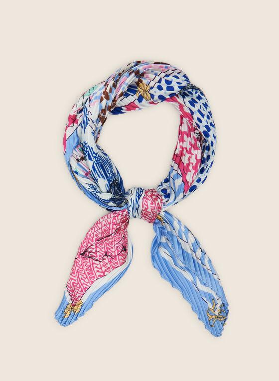 Foulard carré plissé, Bleu
