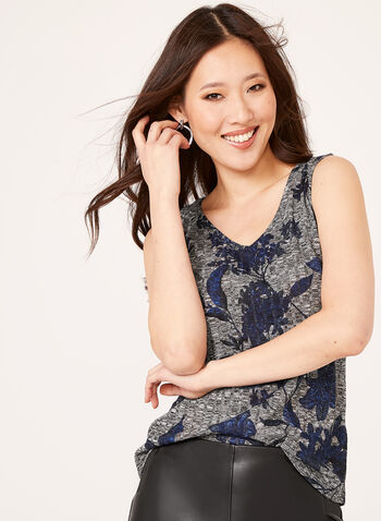 Sleeveless Floral Knit Camisole, Blue, hi-res