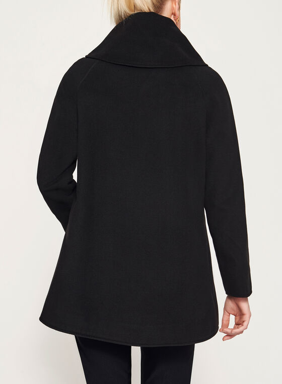 Wool-Like Shawl Neck Coat, Black, hi-res