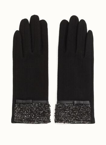 Gants avec boucle en similicuir, Noir, hi-res