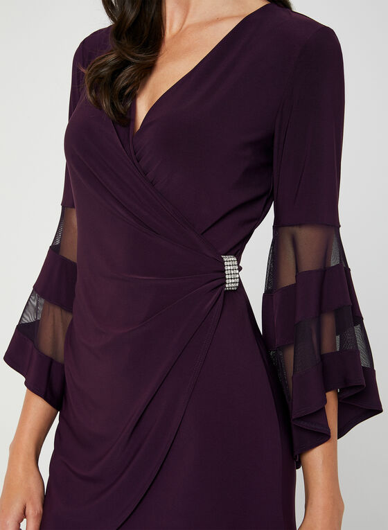 Bell Sleeve Jersey Dress, Purple, hi-res
