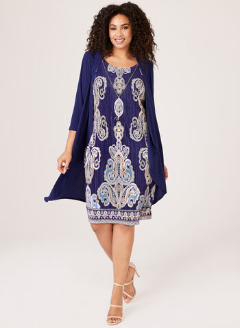 Paisley Print Dress & Duster Set, Blue, hi-res