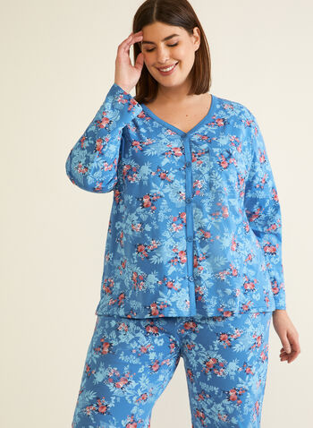 Floral Print Pyjama Set, Blue,  fall winter 2020, floral print, pyjama, pj, set, v neck, long sleeve, chest pocket, button, comfort, stretch, sleepwear, elastic waist, straight leg