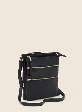 Zipper Detail Crossbody Bag, Black,  handbag, crossbody, zipper, nylon, fall winter 2020