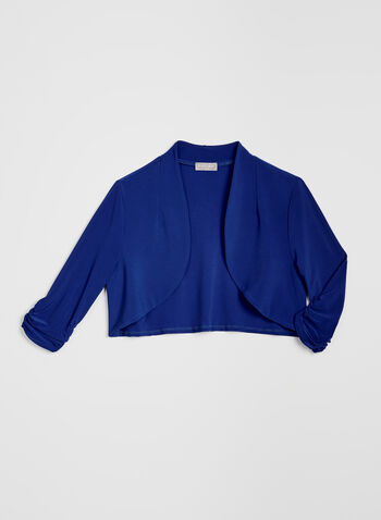 ¾ Sleeve Open Front Bolero, Blue, hi-res