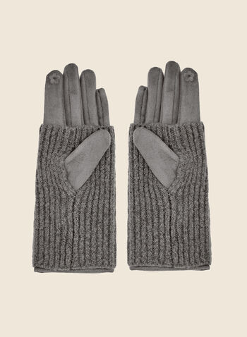 Faux Suede Gloves, Grey,  gloves, faux suede, knit, fall winter 2020