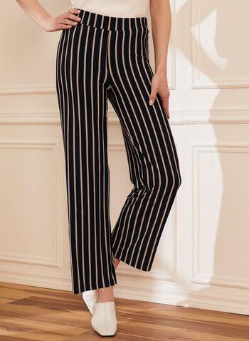 Pantalon rayé à jambe large, Bleu,  pantalon, pull-on, jambe large, rayé, moderne, printemps été 2020